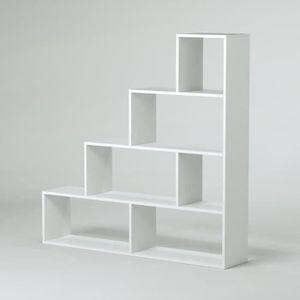 KLUM Meuble escalier contemporain mélaminé blanc brillant - L 145 cm