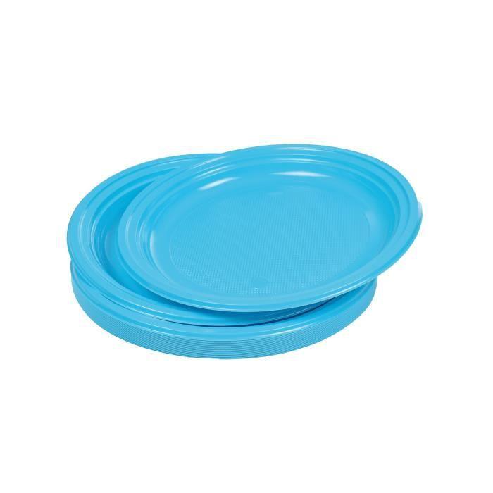 Lot de 20 assiettes plates jetables diamètre 22 cm bleu