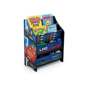 CARS - Meuble Enfant de Rangement Jouets/Livres en Bois - Bleu et Multicolore