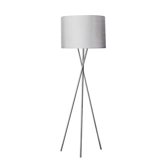 Lampadaire en métal chromé - Abat-jour en tissu gris - Pied en métal - Diamètre : 45cm - Hauteur : 160cm - 1 ampoule requise : Culot E27 - Puissance maxi : 15 W - Voir nos propositions d'ampoules ci-dessousLAMPADAIRE