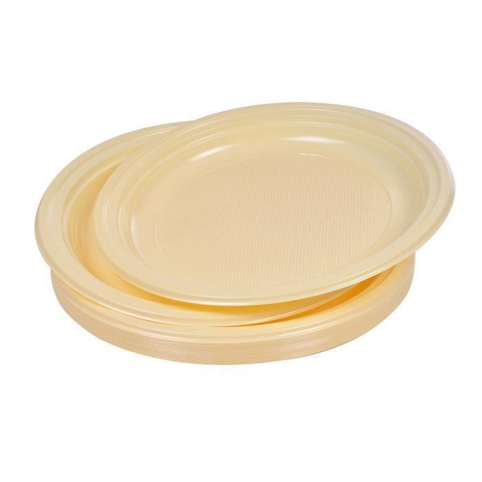 Lot de 20 assiettes plates jetables diamètre 22 cm crème
