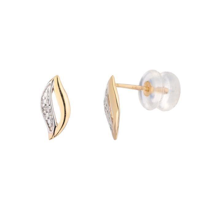 YSORA Boucles d'Oreilles Or Jaune 375° et Diamants Femme