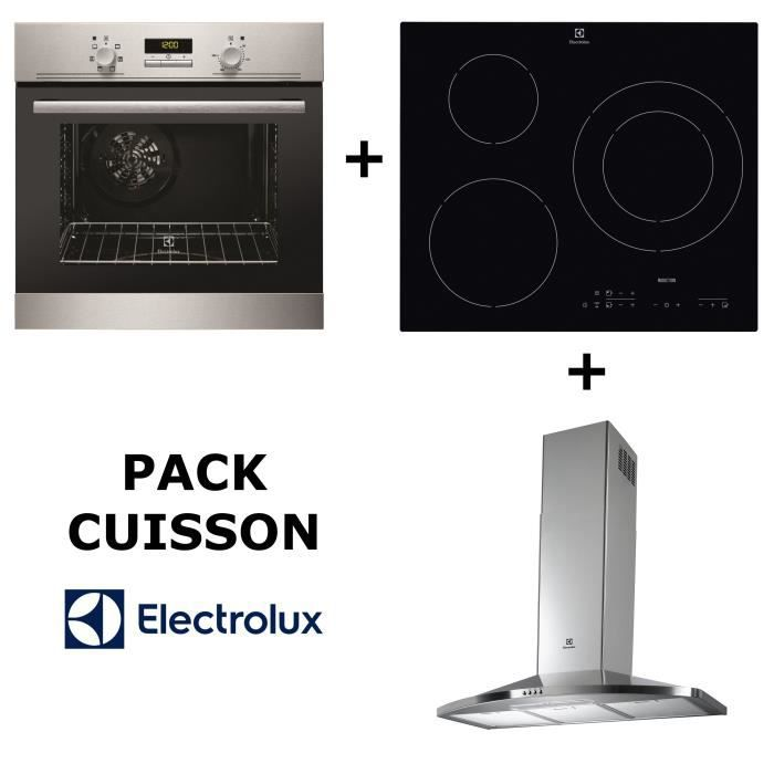 ELECTROLUX Pack cuisson : Four multifonction pyrolyse + Table induction + hotte ELECEFH9046IX