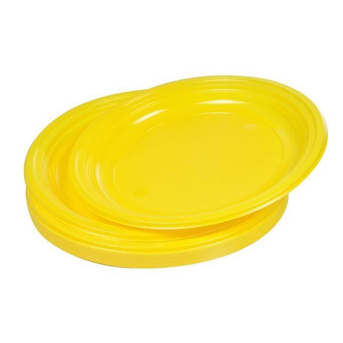 Lot de 20 assiettes plates jetables diamètre 22 cm jaune