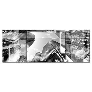 CITY Tableau déco toile imprimée 80x30 cm noir ville
