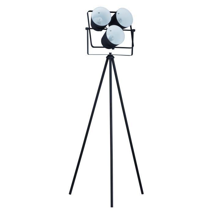 Lampadaire trépied en métal avec 3 projecteurs 60x60x150 cm E27 40 W noir