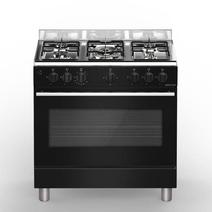 BOMPANI BŒ85NR Piano de cuisson gaz - 5 foyers - Four électrique - Catalyse - Noir