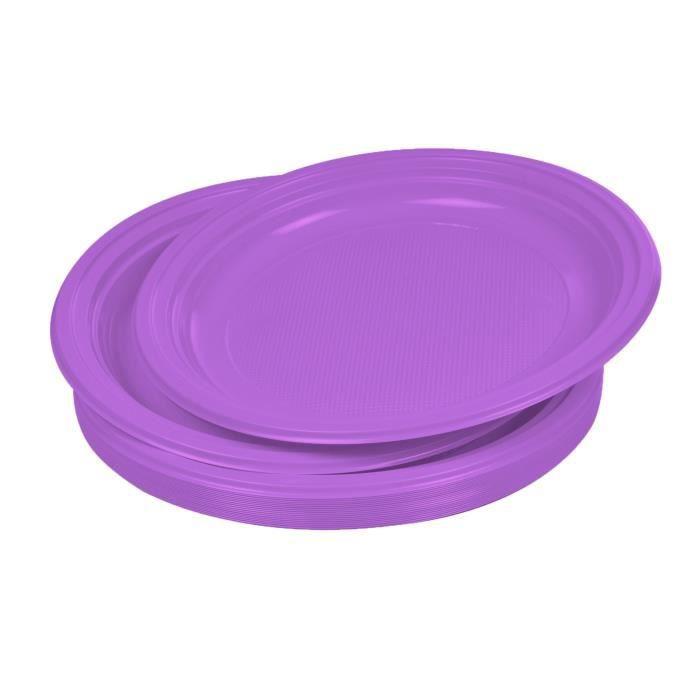 Lot de 20 assiettes plates jetables diamètre 22 cm prune