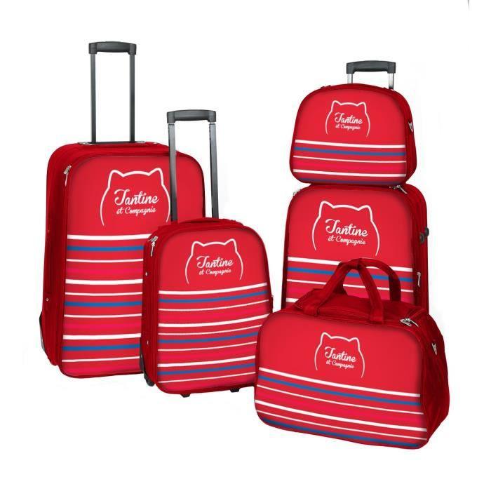 FRANCE BAG - TANTINE ET COMPAGNIE Set de 3 valises + Sac de voyage + Vanity - Rouge