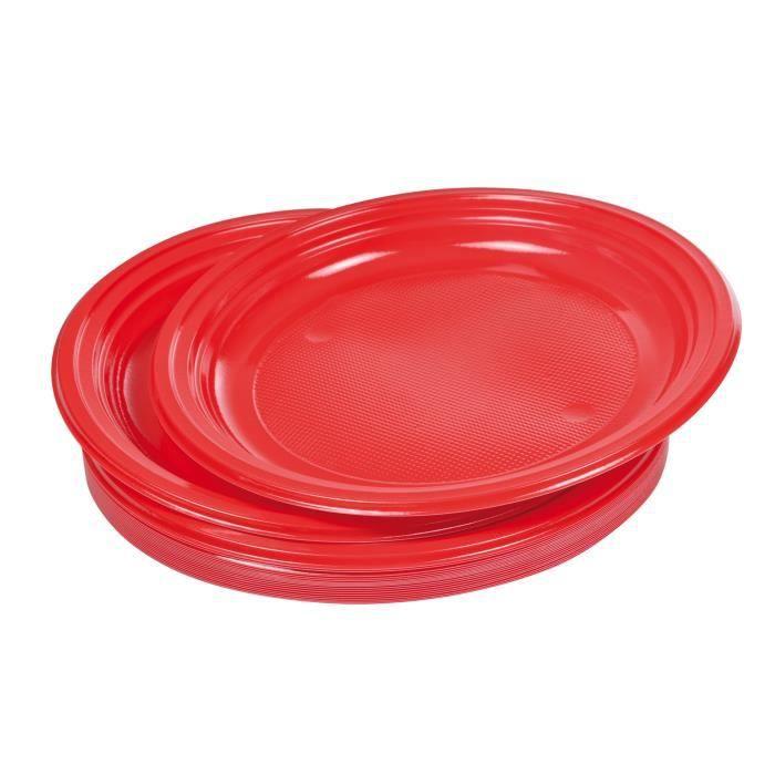 Lot de 20 assiettes plates jetables diamètre 22 cm rouge