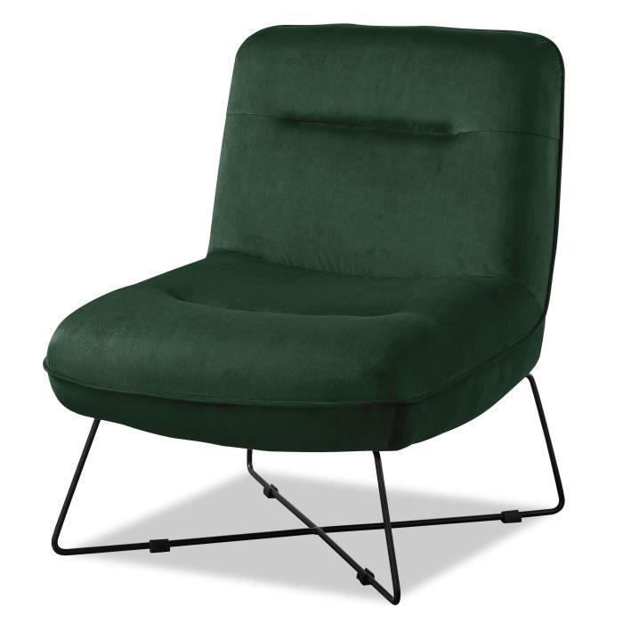 TIM Fauteuil pieds métal - Velours vert - L 64 x P 74 x H 75 cm