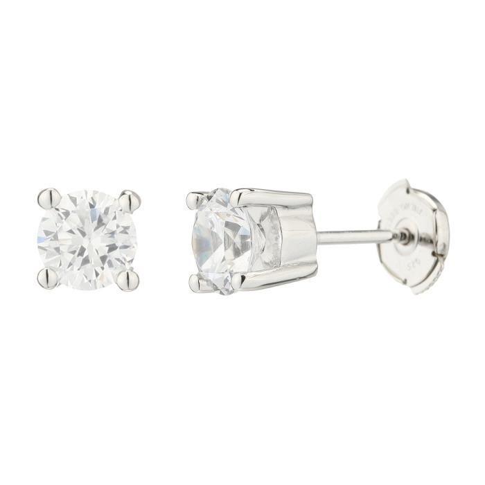 MONTE CARLO STAR Boucles d'oreilles Or Blanc 750° et Diamants 0.60 cts Femme