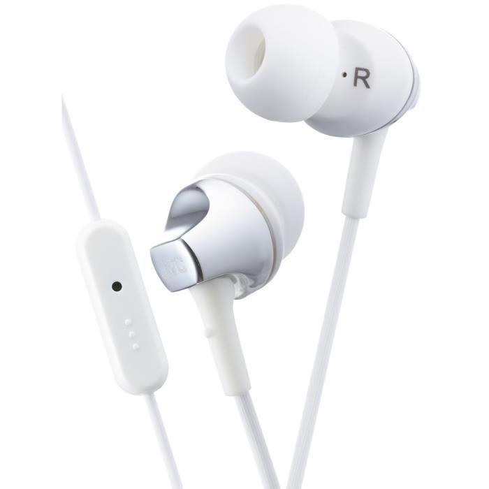 JVC HA-FR325 Ecouteurs intra-auriculaires avec télécommande et micro Blanc