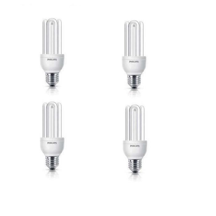 PHILIPS Lot de 4 ampoules fluo-compacte E27 18 W équivalent à 83 W