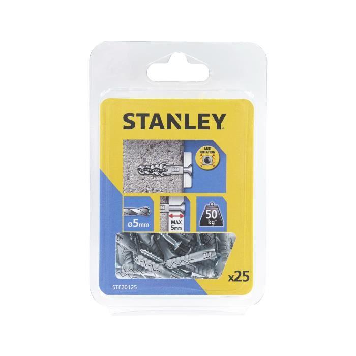 STANLEY Lot de 25 chevilles en nylon ø 5x25 mm avec vis à tête fraisée STF20125-XJ