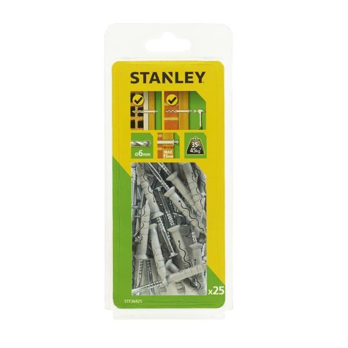 STANLEY Kit de 25 chevilles à frapper ø 6x40 mm STF36425-XJ