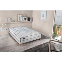 Ensemble matelas mousse et latex HD + sommier tapissier 160 x 200 - Confort ferme - Epaisseur 23 cm - Réversible - FINLANDEK Ukhea