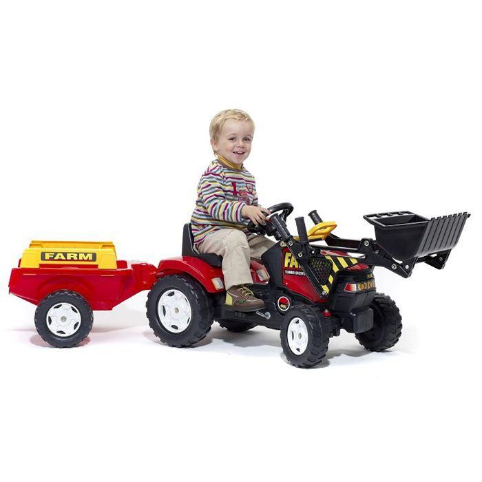 Falk tracteur p dales rouge avec pelle frontale et remorque achat vente tracteur - Tracteur remorque enfant ...