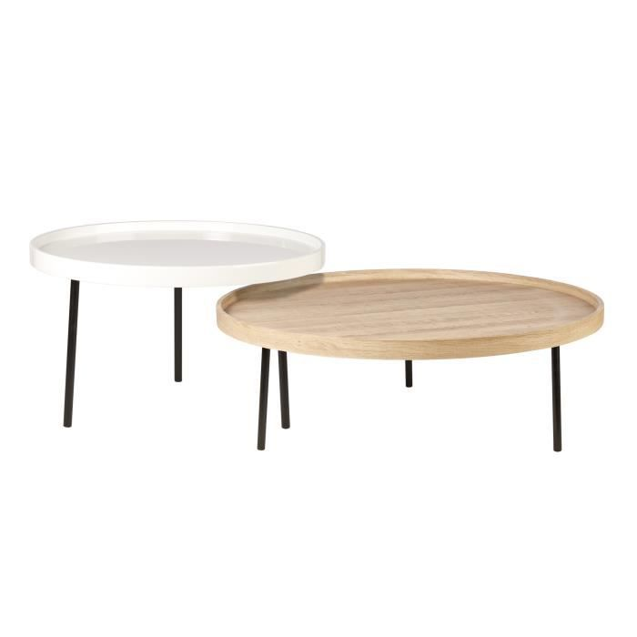 TABLE BASSE NYBRO 2 Tables basses rondes style contemporain dé