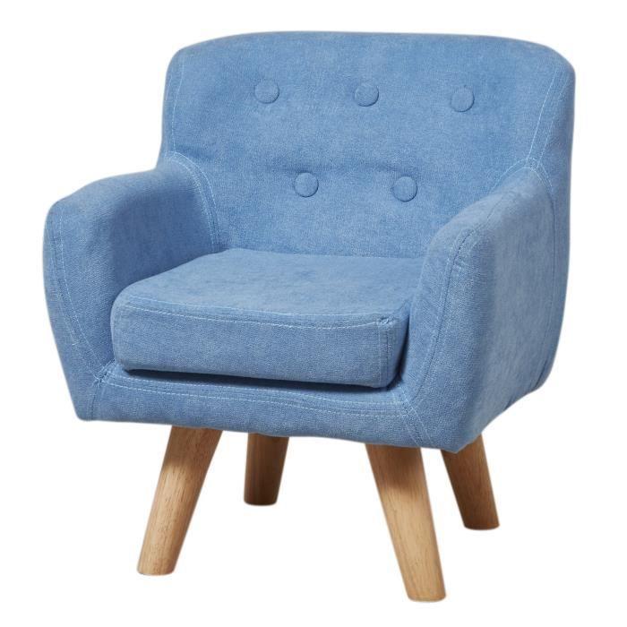 charlotte fauteuil enfant tissu bleu pieds bois scandinave l 42 x p 39 cm achat vente. Black Bedroom Furniture Sets. Home Design Ideas