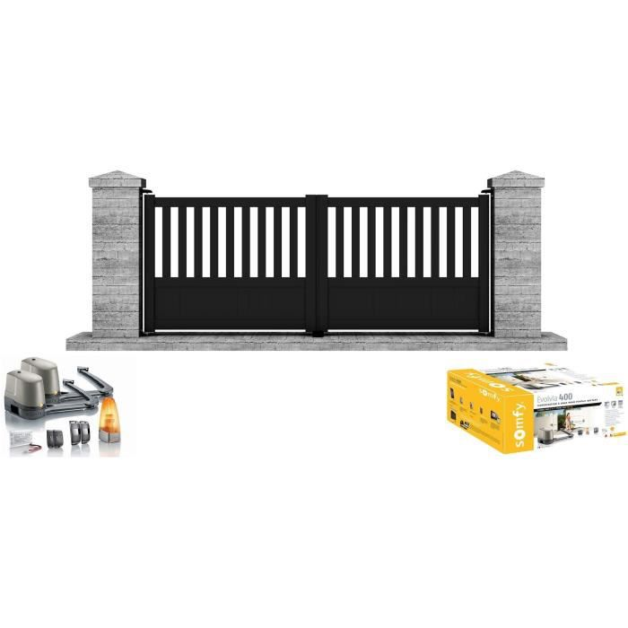 Portail Motorise Somfy Battant Aluminium Etna 3m Noir Clotura