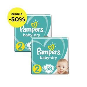 COUCHE PAMPERS Baby Dry Géant T2 X58 Lot de 2