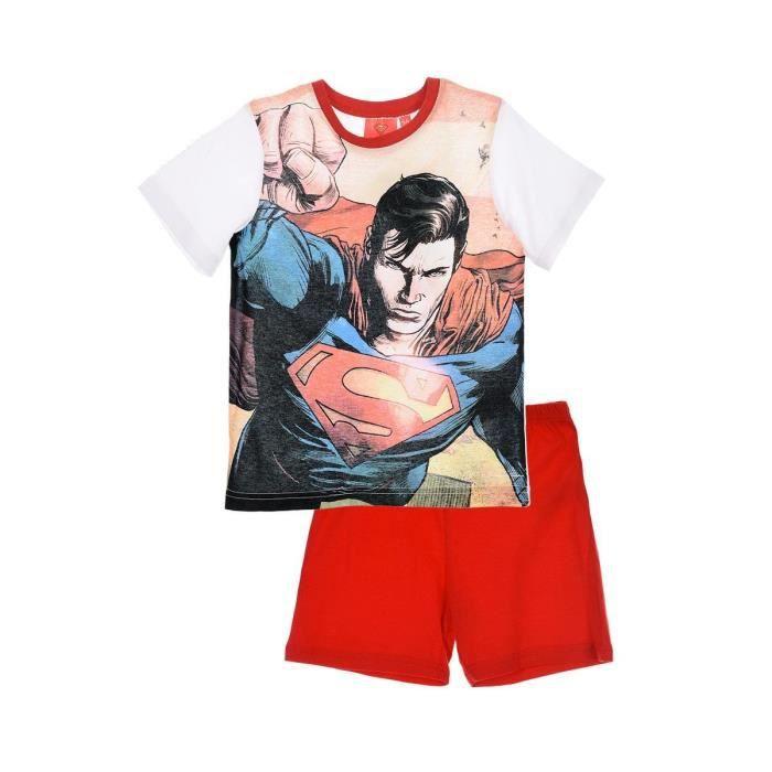 Sérigraphié Ensemble Manches shirt Enfant Garçon Pyjama Courtes T Short Rouge SUPERMAN d8qXUwg8