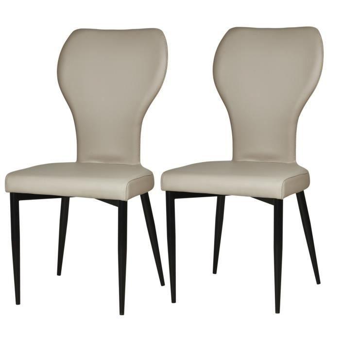 VICTORIA Lot de 2 chaises de salle à manger pieds métal noir ... f212a5c0e800