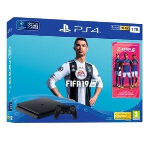 CONSOLE PS4 Pack PS4 1 To Noire + FIFA 19 + 14 jours d'essai P