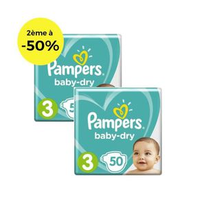 COUCHE PAMPERS Baby Dry T3 5 à 9kg, 50x2, 100 couches