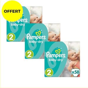COUCHE Pampers Baby Dry Taille 2 - Lot de 3 Géants - 174