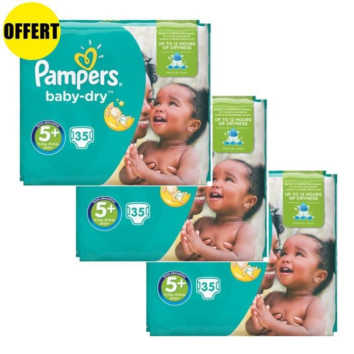 COUCHE Pampers Baby Dry Taille 5+ - Lot de 3 Géants - 105