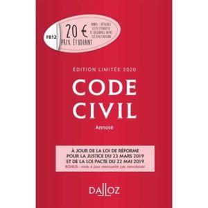 LIVRE DROIT CIVIL Code civil annoté. Edition 2020