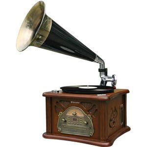ROADSTAR HIF-1850TUMPK Platine Disque Vintage avec pavillon - Encodage depuis CD/Platine/Cassette