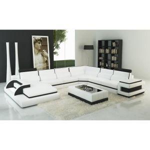 CANAPÉ - SOFA - DIVAN Canapé panoramique cuir blanc et noir design avec