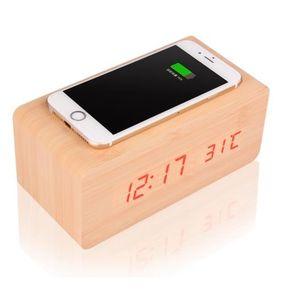 HORLOGE - PENDULE Moderne Cube Bois Alarme LED Horloge numérique Con