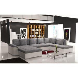 CANAPÉ - SOFA - DIVAN Canapé d'angle panoramique tissu gris et simili cu