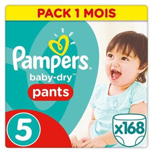 COUCHE PAMPERS baby-dry Pants Taille 5 (12-18kg) 168 couc