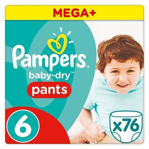 COUCHE PAMPERS baby-dry pants Taille 6 (+15kg) 76 couches