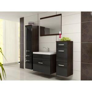 Meuble salle de bain bois noir - Achat / Vente Meuble salle de ...
