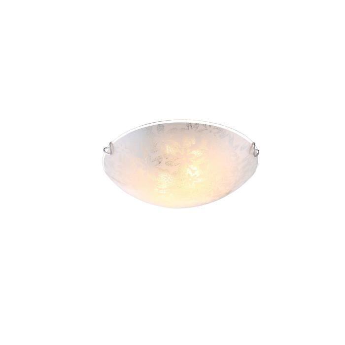 Plafonnier blanc - verre opal satiné - A:300 - H:100 - Ampoule non incluse - 2xE27 60W 230VPLAFONNIER