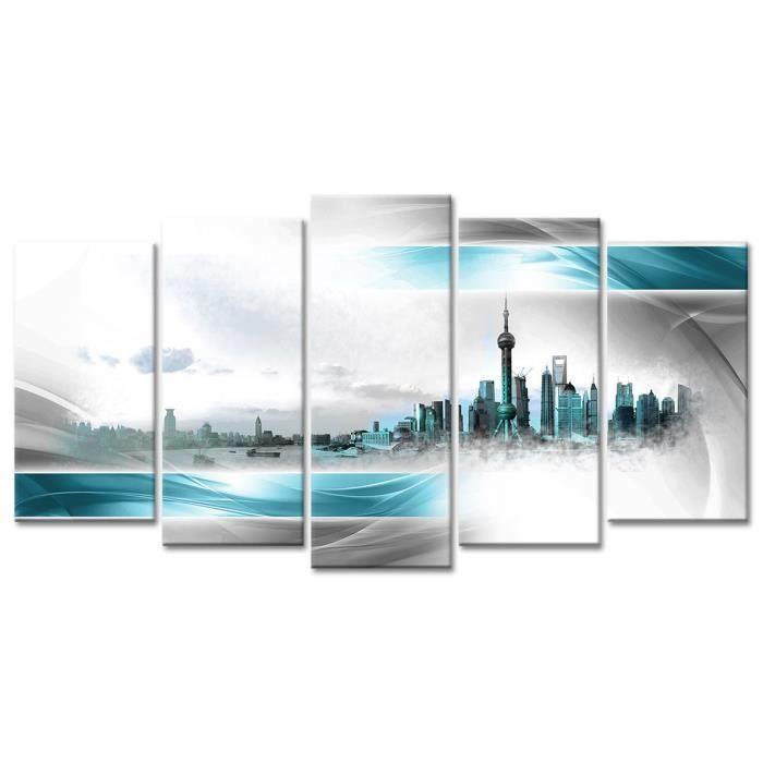 Thème : Urbain - Tableau Déco Design Déco Panorama Shangai - 150x80 cm - TurquoiseTABLEAU - TOILE
