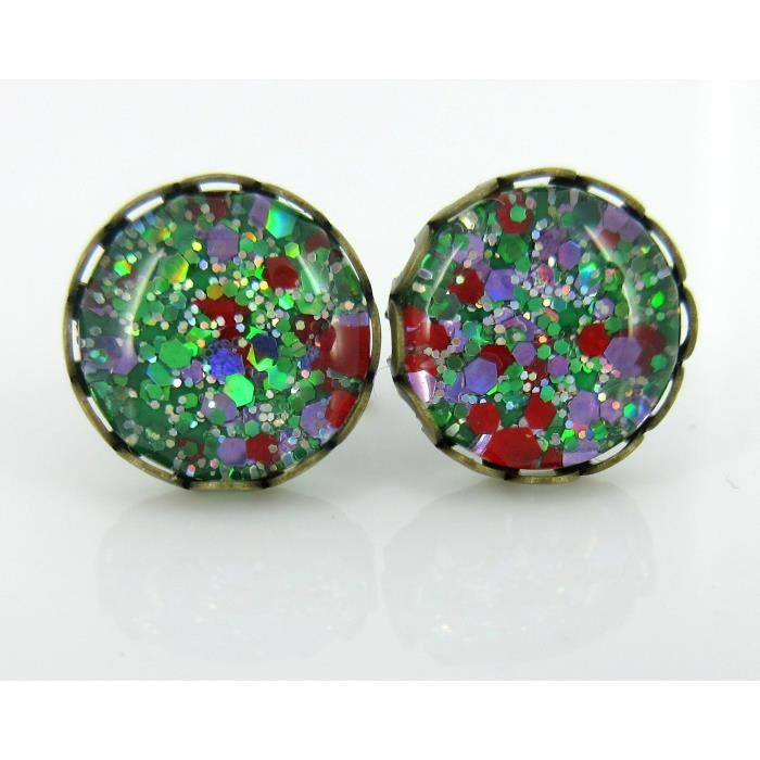 Womens Antiqued Gold-tone Green Purple Red Glitter Glass Stud Earrings Hand-painted 10mm A6E7Y