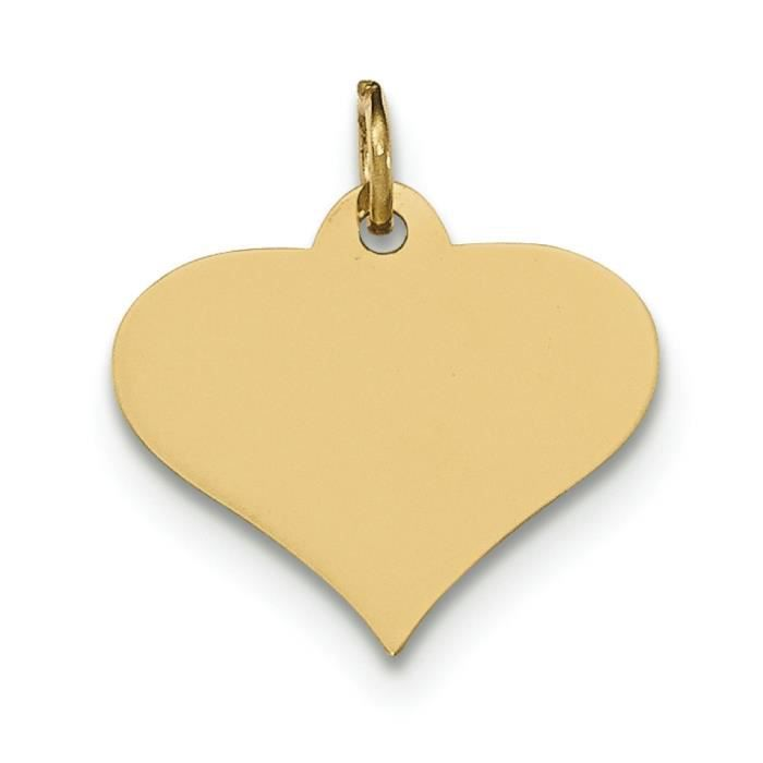 Uni 14 carats .027 jauge Engravable coeur charme-disque