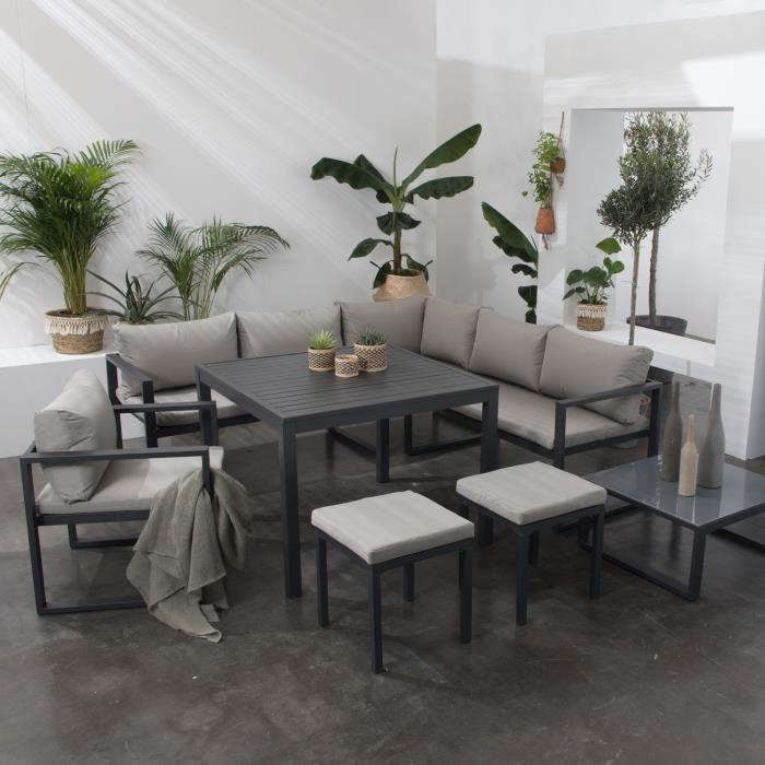 Salon de jardin aluminium anthracite