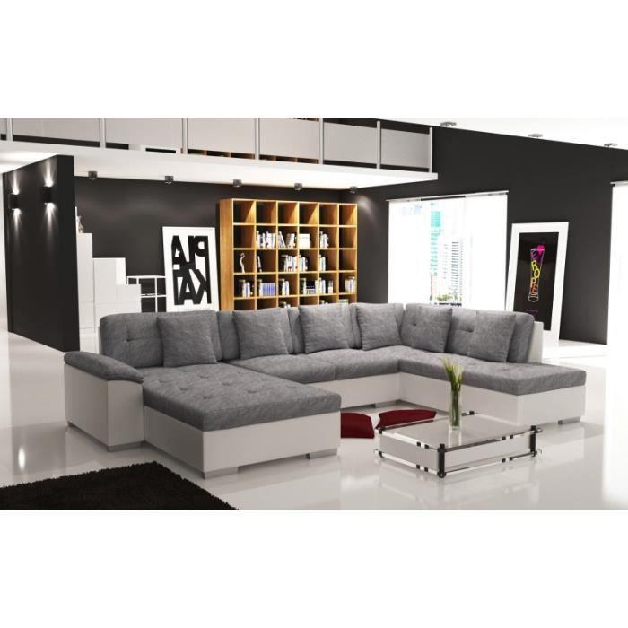 Canapé d angle panoramique tissu gris et simili cuir blanc SMILE