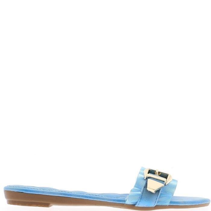Nu-pieds femme bleus avec large bride effet tissu à talon de 1cm UqqFJFX7q2