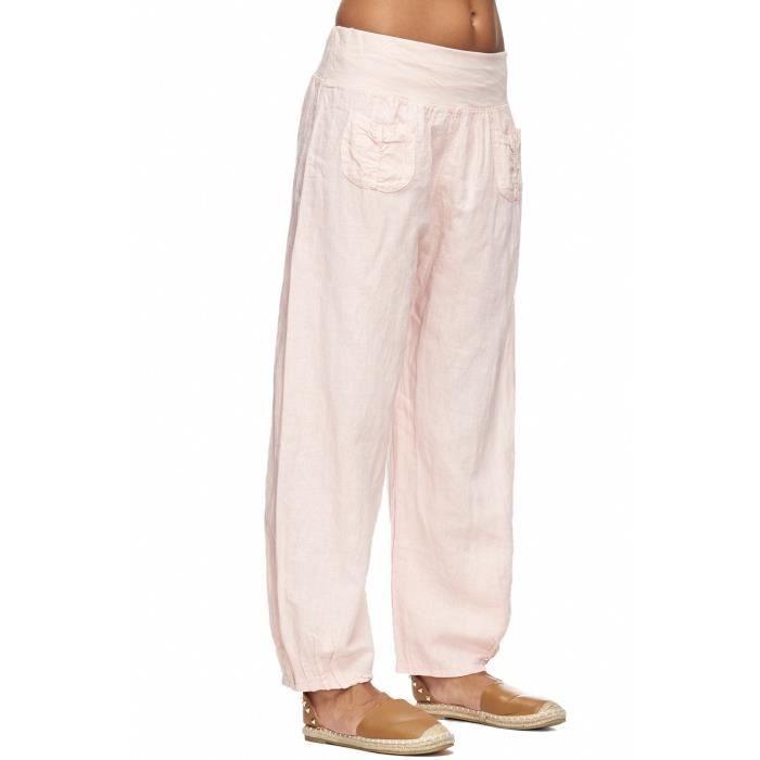 93ba73a32b2d1 Pantalon En Lin Femme En Tissu Léger Sarouel Bande Stretch à La Taille ML2BC