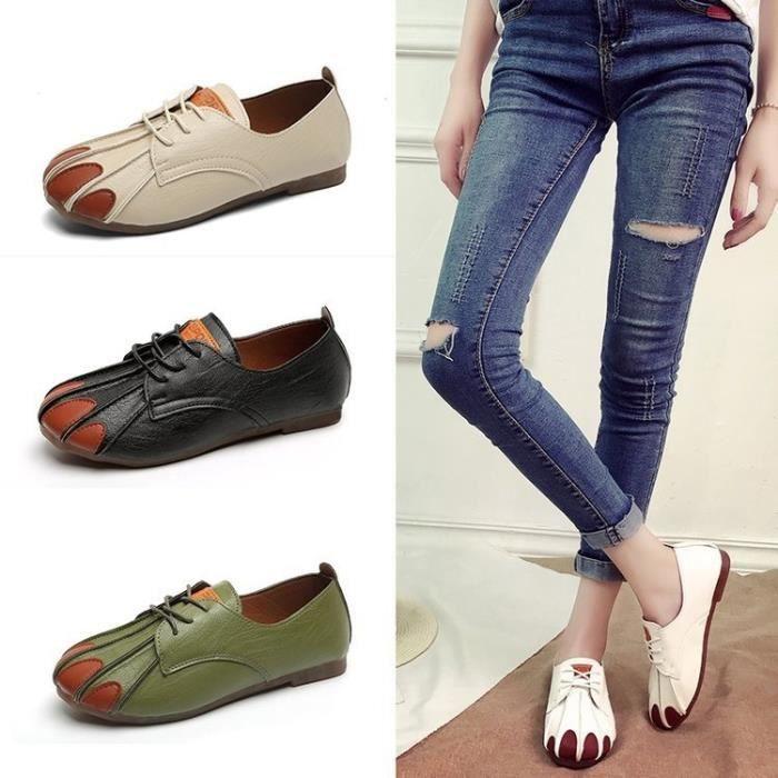 Fractionnés Oxford en cuir chaussures pour femmes bout pointu Nurse Casual Shoes Automne plat avec cuir femmes Mocassins