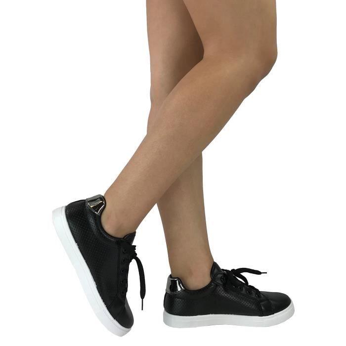 Bella Marie Femmes Plimsoll Sneaker Perforé Lace Up Low Top Chaussures Mode QUM5X Taille-39 1-2
